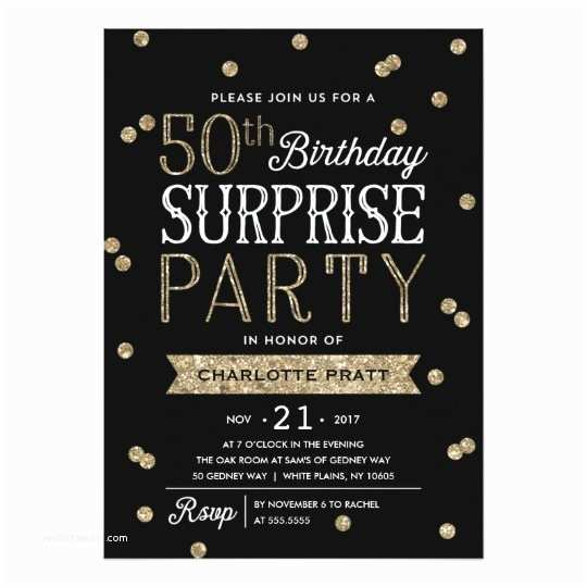 50th Birthday Invitations for Him 50th Glitter Confetti Surprise Party Invitation