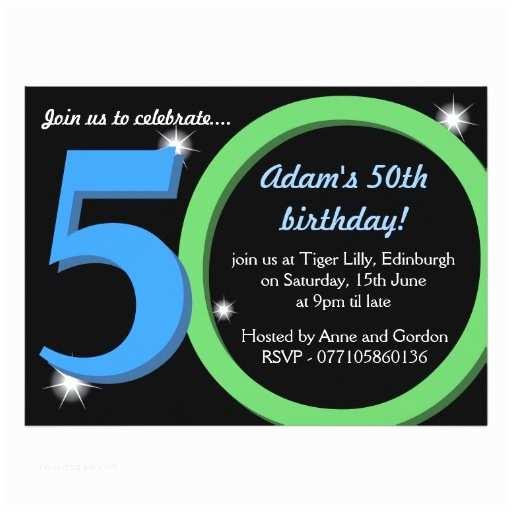 50th birthday invitations for him mens green blue fiftieth 50th