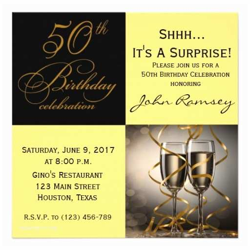50th Birthday Invitations for Him Surprise 50th Birthday Party Invitations Wording