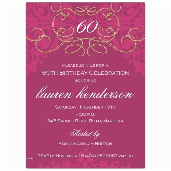 50th Birthday Party Invitations 50th Birthday Fleur Plum Invitations