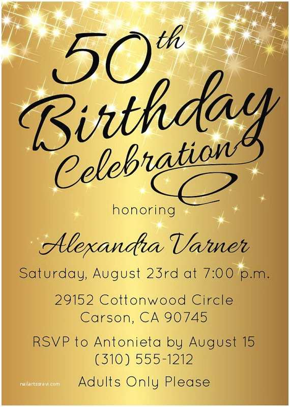 50th Birthday Party Invitations 50th Birthday Invitation • Printable Gold Stars Surprise