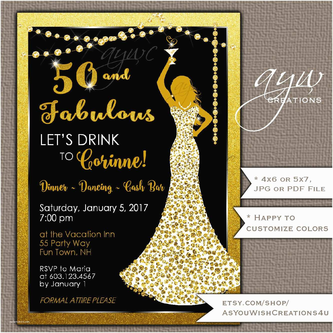 50th Birthday Party Invitations 50th Birthday Party Invitations Woman Bling Dress 40th Womans