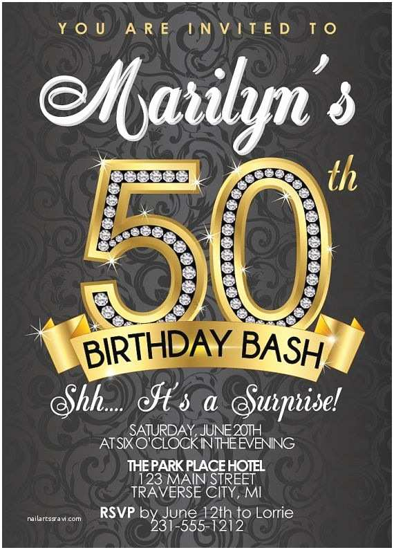 50th Birthday Party Invitations Diamond 50th Birthday Invitation Adult Birthday Party