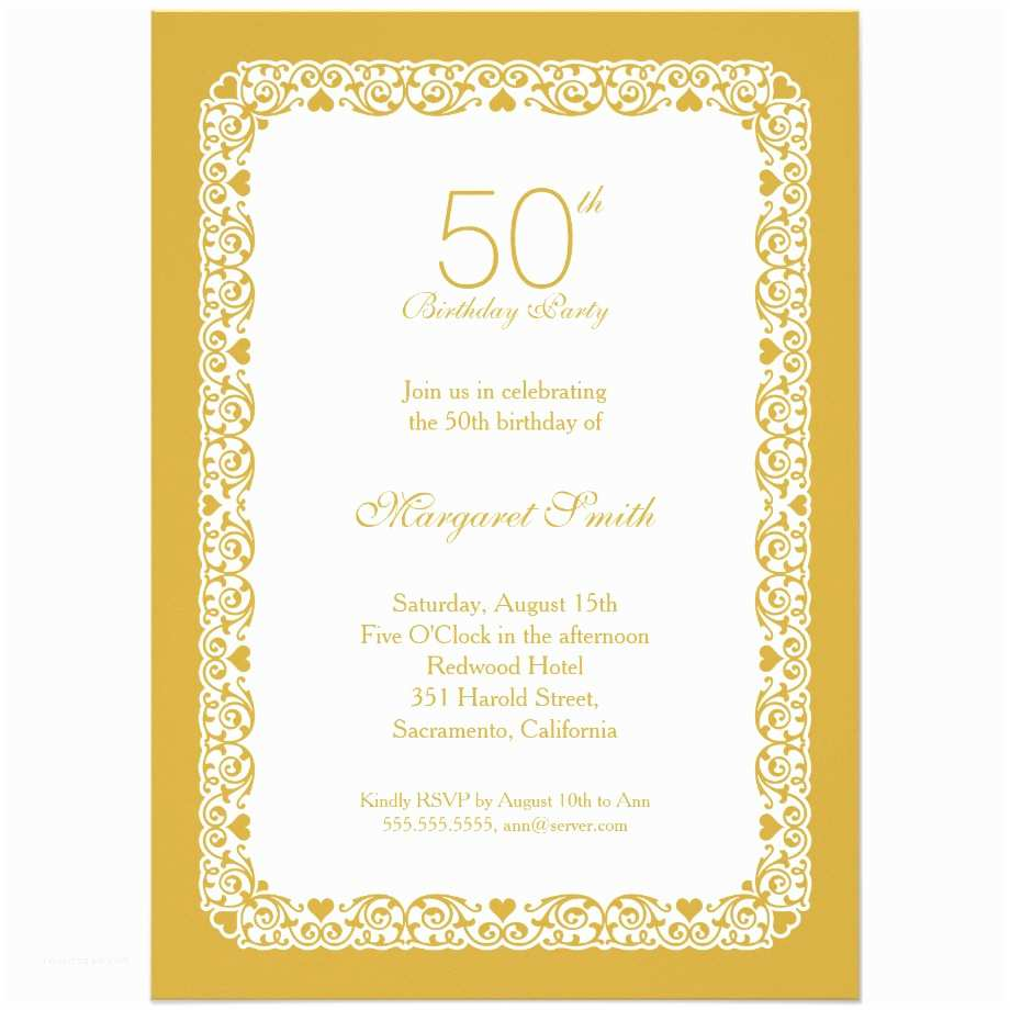 50th Birthday Party Invitations Elegant Personalized 50th Birthday Party Invitations
