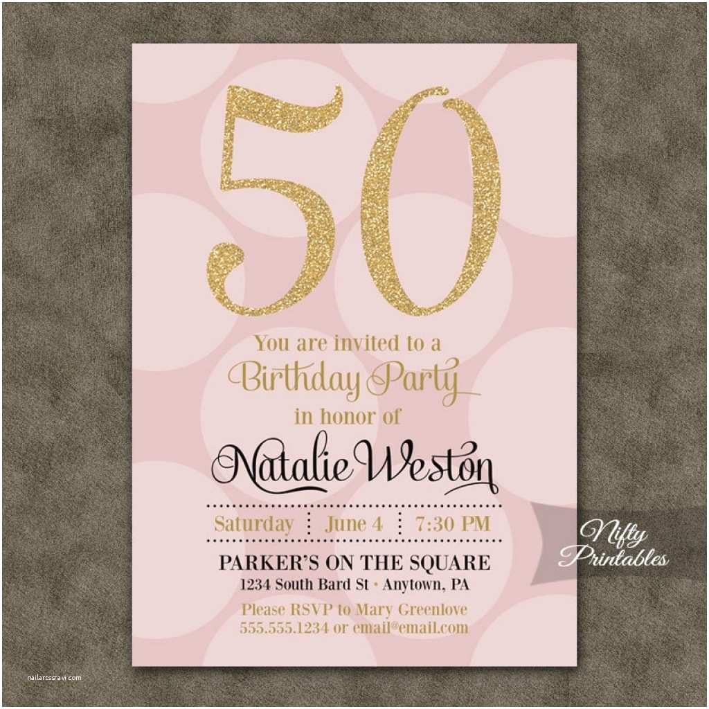 50th Birthday Party Invitations For Her Modern Templates