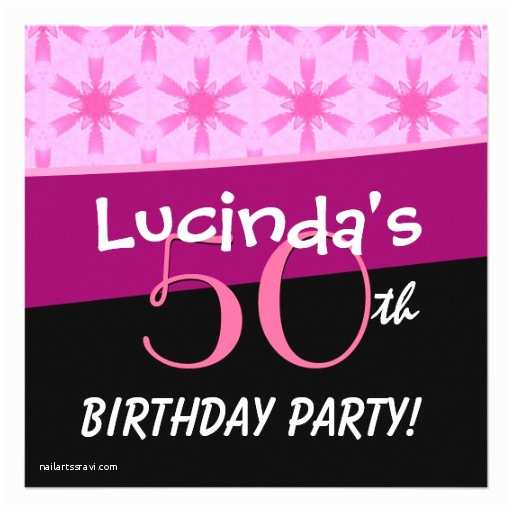 50th Birthday Party Invitations for Her 50th Birthday Party Pink Star Flowers for Her B391 5 25