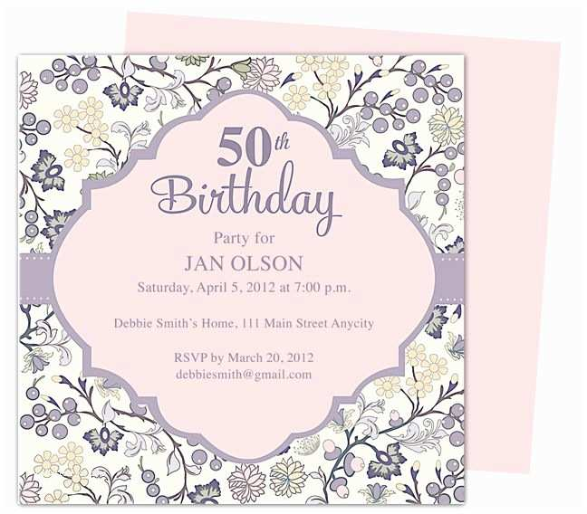 50th Birthday Party Invitations for Her Beautiful and Elegant 50th Birthday Party Invitations