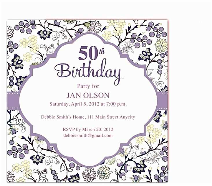 50th Birthday Party Invitations For Her Beautiful