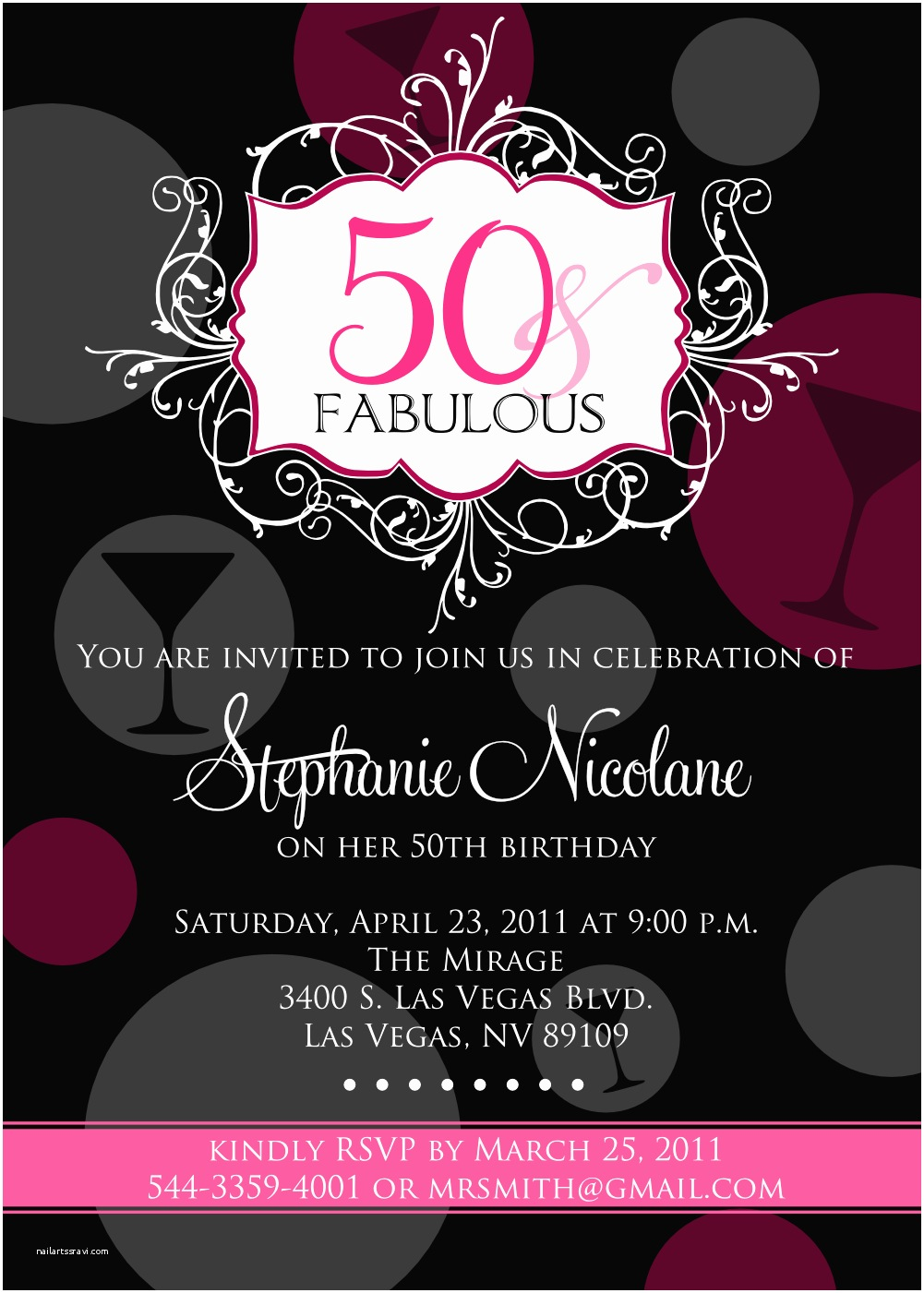 50th Birthday Party Invitations for Her Signatures by Sarah Fabulous 50th Birthday Party