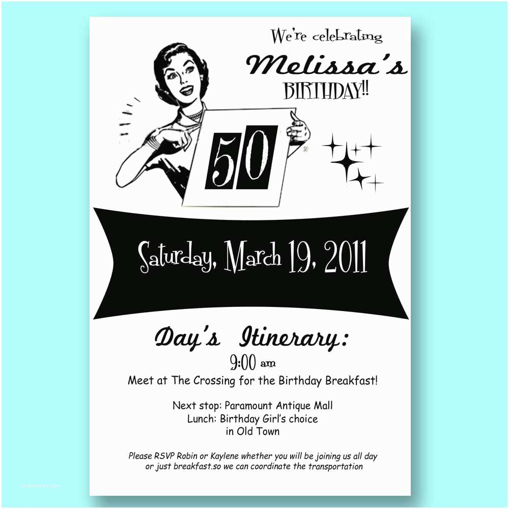 50th Birthday Party Invitations For Her Vintage Retro Invitation 30 40 50 Mad By