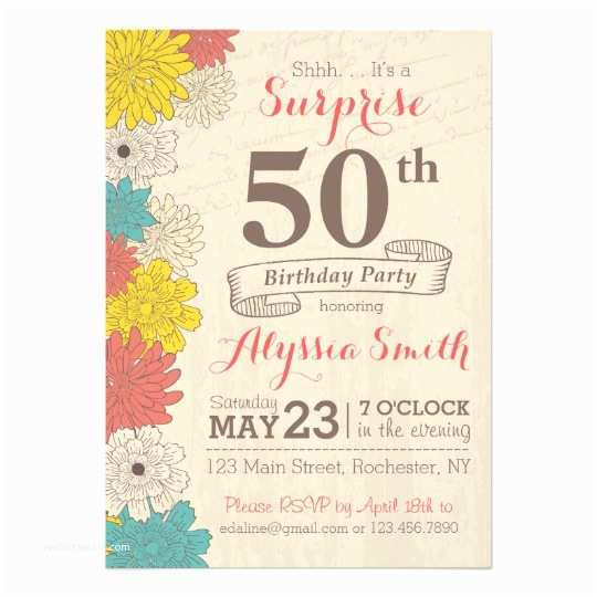 50th Birthday Party Invitations Surprise 50th Birthday Invitation