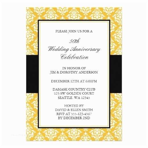 50th Wedding Anniversary Invitations 50th Wedding Anniversary Gold and Black Damask 5x7 Paper