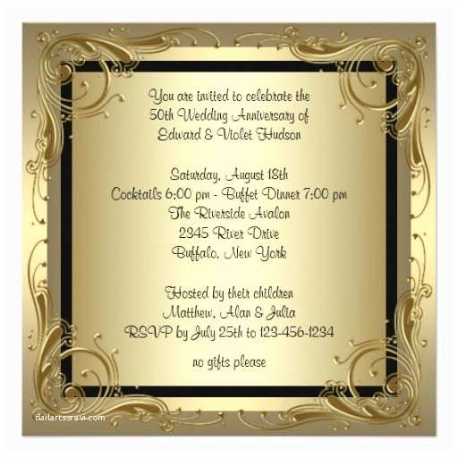 "50th Wedding Anniversary Invitations Elegant Gold 50th Wedding Anniversary Party 5 25"" Square"