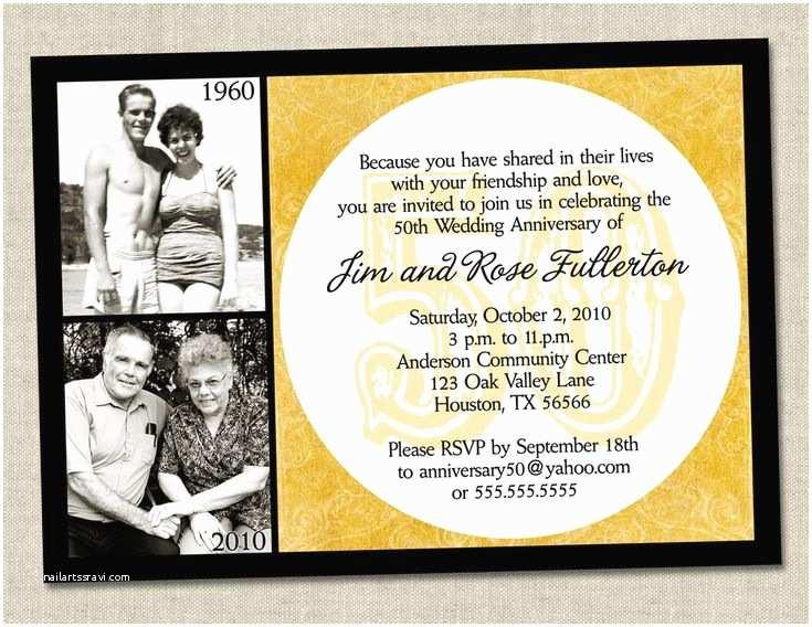 50th Wedding Anniversary Invitations Free Templates 50th Anniversary Invitation Golden Gold Anniversary