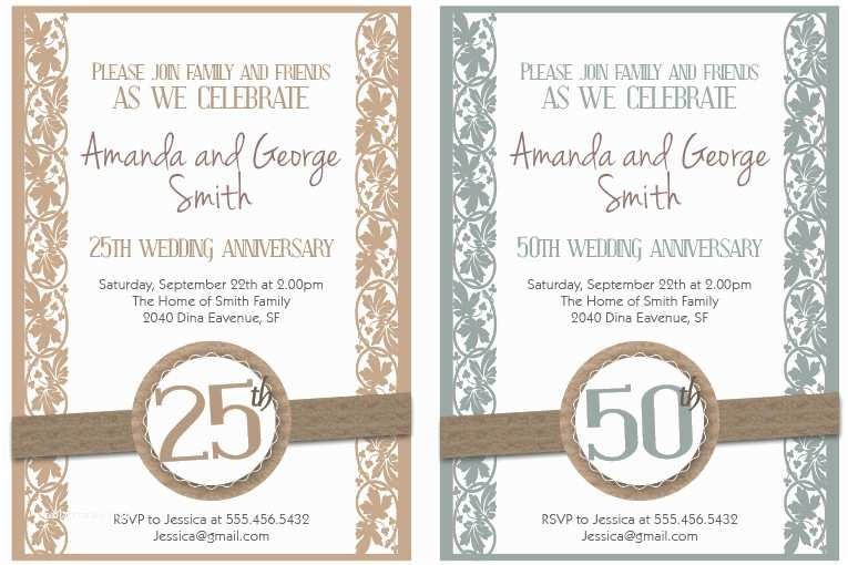 picture regarding 50th Wedding Anniversary Cards Free Printable called 50th Marriage Anniversary Invites Cost-free Templates Bright