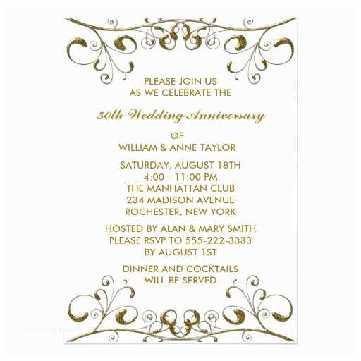 "50th Wedding Anniversary Invitations Free Templates Gold Swirls 50th Wedding Anniversary Invitations 5"" X 7"