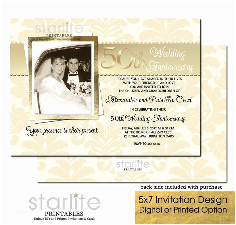 50th Wedding Anniversary Invitations Golden 50th Wedding Anniversary Invitation 50th