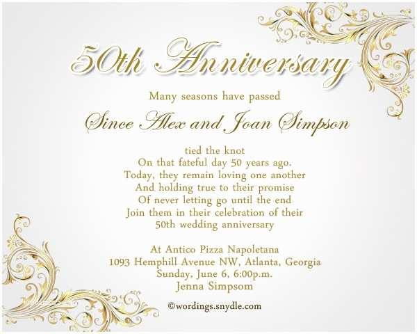 50th Wedding Anniversary Invitations Templates 50th Wedding Anniversary Party Invitation Wording