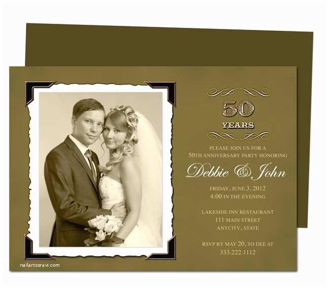 50th Wedding Anniversary Invitations Templates Wedding Anniverary Invitation Templates Vintage Golden