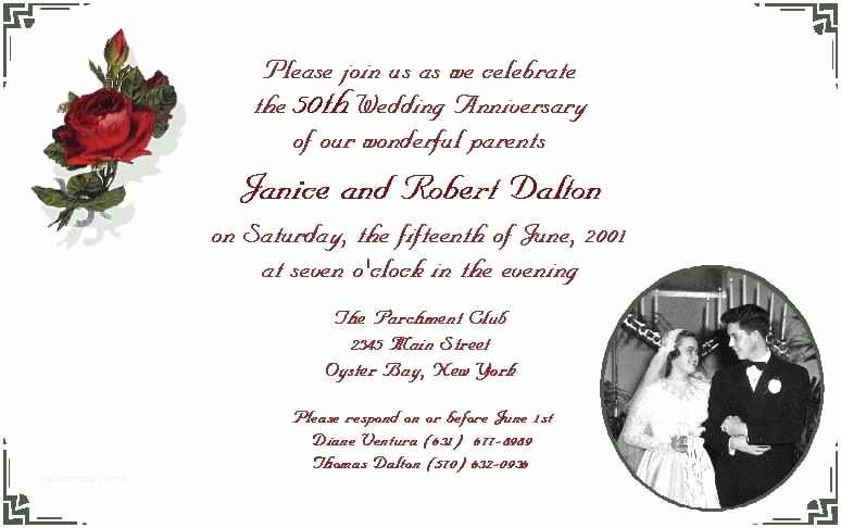 50th Wedding Anniversary Invitations Templates Wedding Invitation Wording