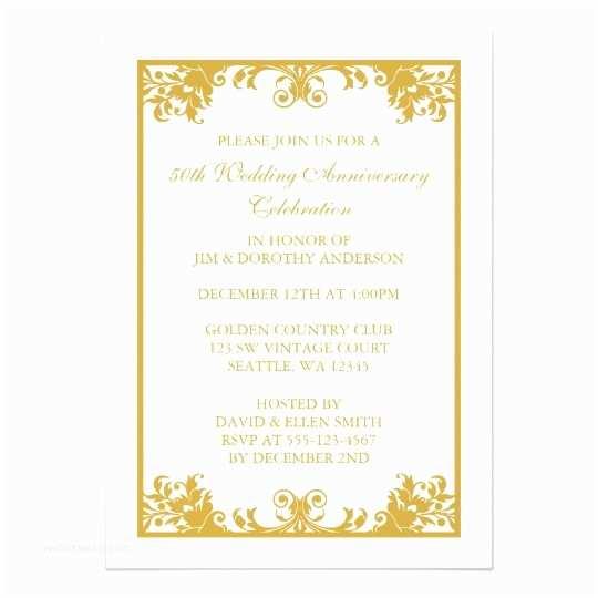 50th Wedding Invitation Templates 50th Wedding Anniversary Gold Flourish Scroll Card