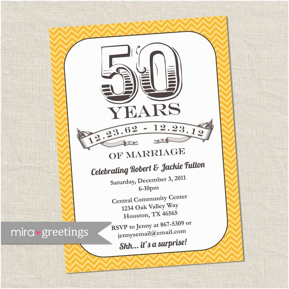 50th Wedding Invitations 50th Anniversary Invitation Gold Golden Vintage Anniversary