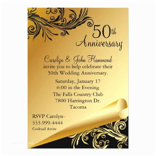 50th Wedding Invitations Black & Gold 50th Wedding Anniversary Invitation