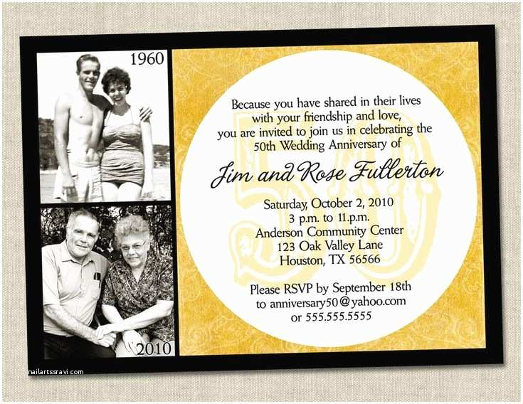 50th Wedding Invitations Designs 50th Anniversary Invitation Golden Gold Anniversary