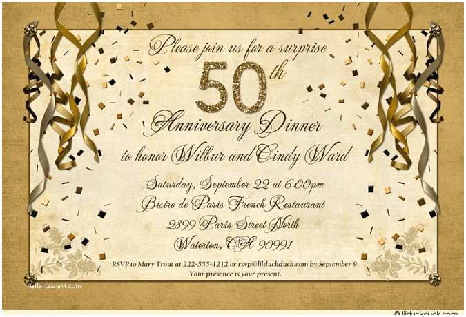 50th Wedding Invitations Designs Festive 50th Anniversary Party Invitation Gold Streamer