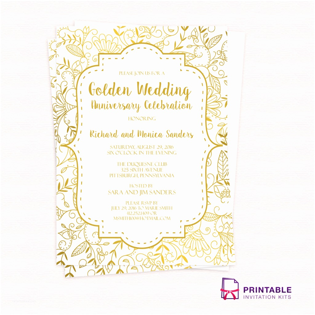 50th Wedding Invitations Designs Golden Wedding Anniversary Invitation Template ← Wedding