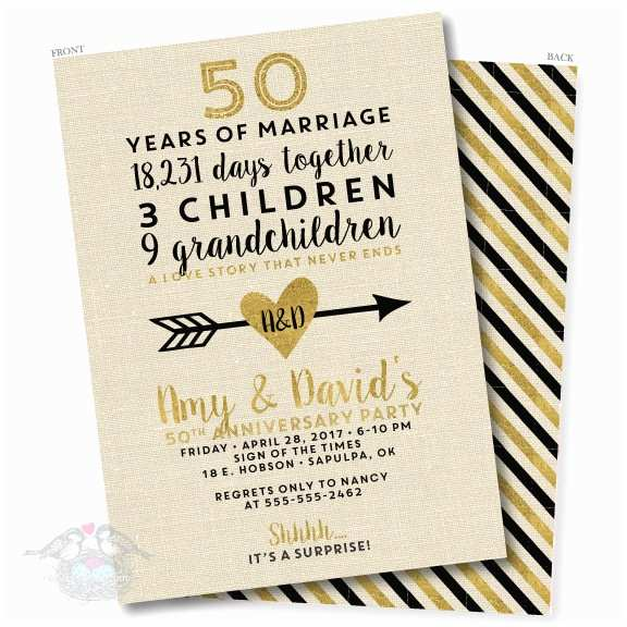 50th Wedding Invitations Designs Linen and Gold 50th Wedding Anniversary Invitation
