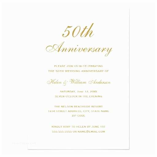50th Wedding Invitations Elegant Gold 50th Wedding Anniversary Invitations