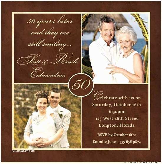 50th Wedding Invitations Golden Two Anniversary Invitation 50 Years Wedding