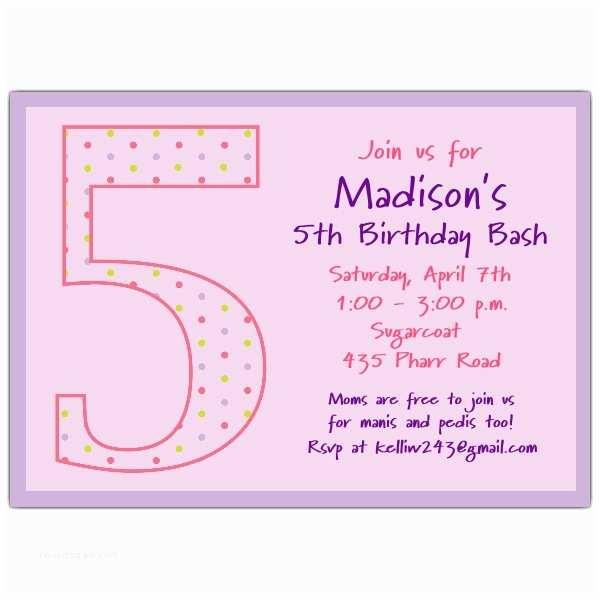 5th Birthday Invitation Wording Girl Dots Invitations