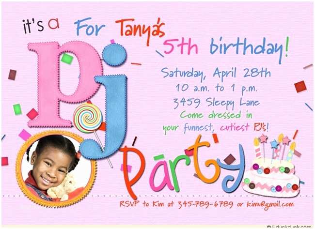 5th Birthday Invitation Wording Party