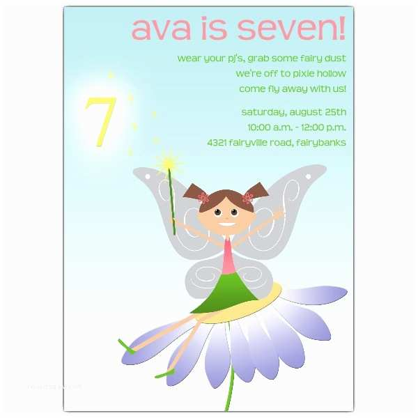 5th Birthday Invitation Wording Fairy Fun Brunette 7th Invitations