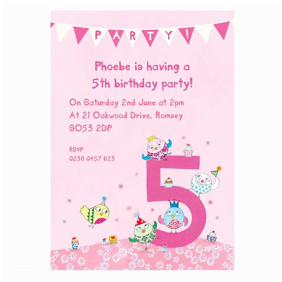5th Birthday Invitation Wording Personalised Fifth Party Invitations By Made