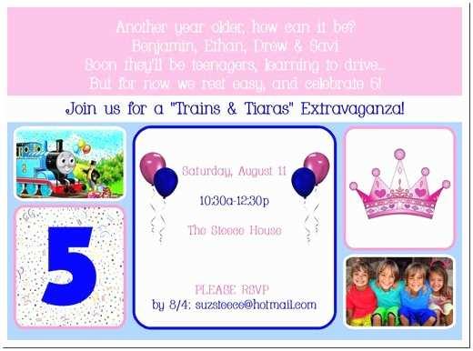 "5th Birthday Invitation Wording Steece S Pieces ""trains & Tiaras"" Quads' 5th Birthday theme"
