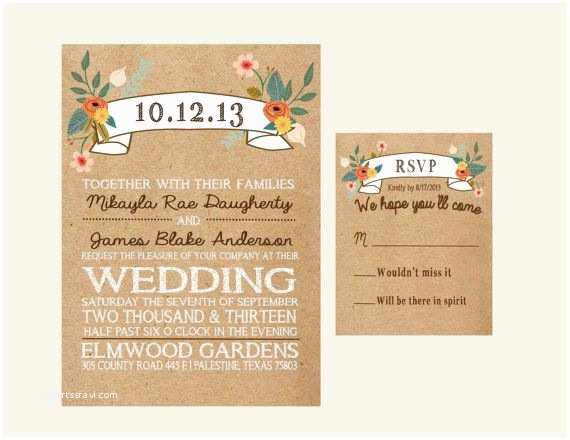 5x7 Wedding Invitation Paper 5x7 Rustic Brown Paper Floral Wedding Invitation with 4 25