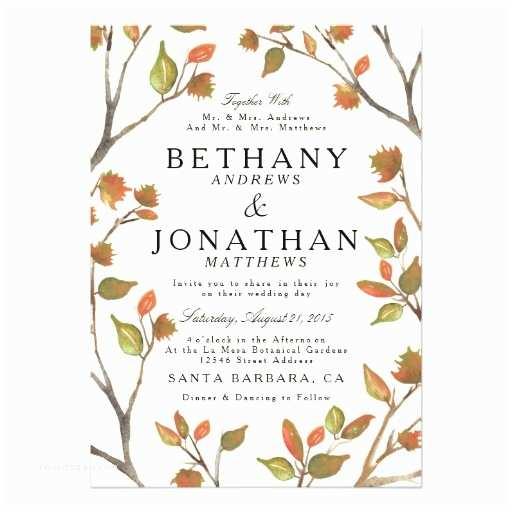 5x7 Wedding Invitation Paper Autumn Trees Wedding 5x7 Paper Invitation Card