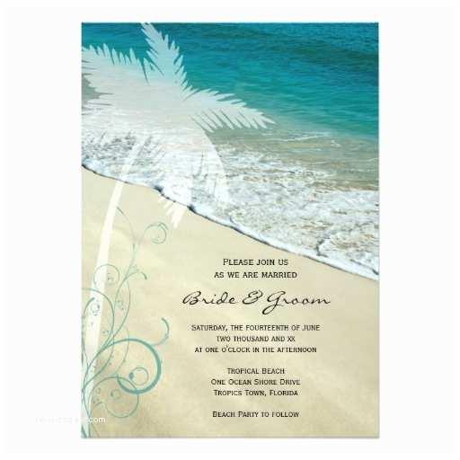 5x7 Wedding Invitation Paper Tropical Beach Wedding 5x7 Paper Invitation Card