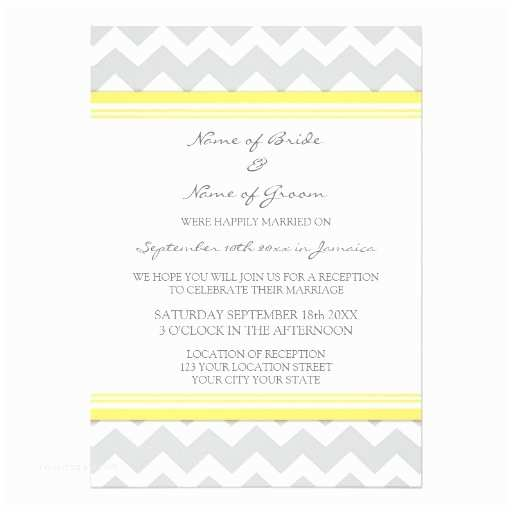 5x7 Wedding Invitation Paper Wedding Reception Ly Grey Yellow Chevron 5x7 Paper