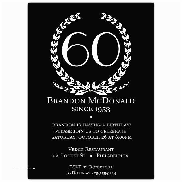 60 Birthday Invitations Age In Wreath Black 60th