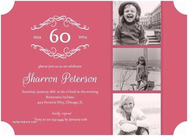 60 Birthday Invitations Dusty Rose 60th Birthday Surprise Party Invitation