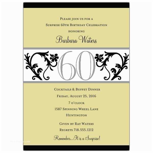 60 Birthday Invitations Elegant Vine Chartreuse 60th Birthday Invitations