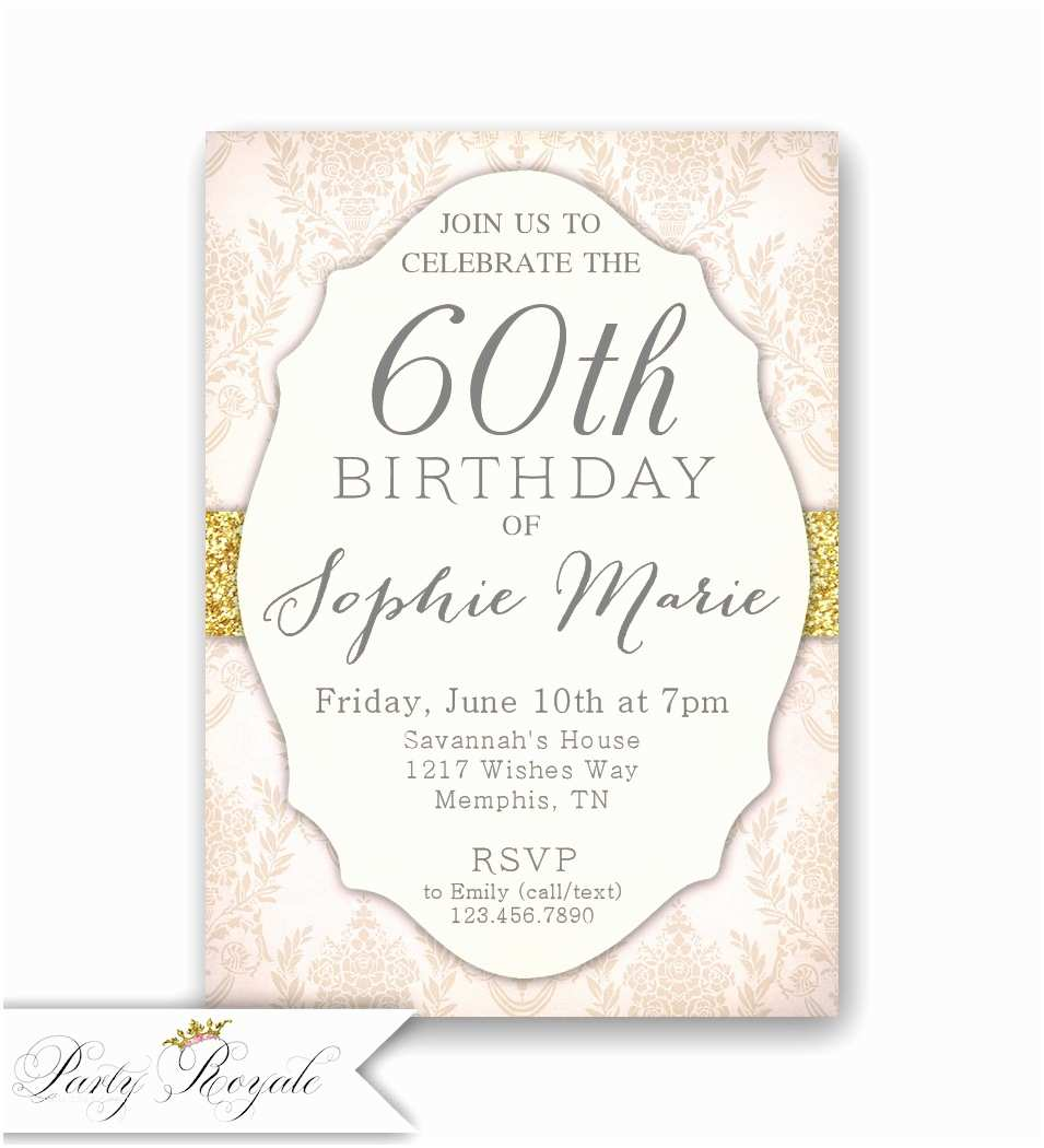 60th Birthday Invitation Elegant 60th Birthday Invitations Women S 60th