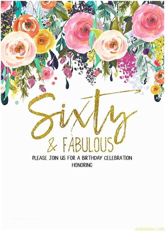 60th Birthday Invitation Free Printable 60th Birthday Invitation Templates