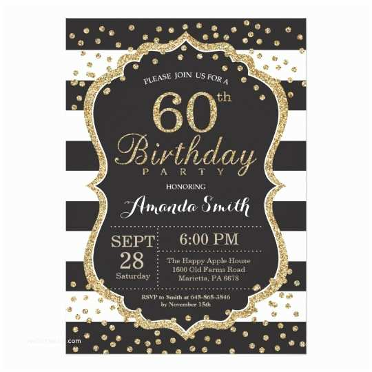 60th Birthday Invitation Ideas 60th Birthday Invitation Black and Gold Glitter Card