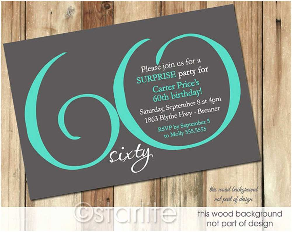 60th Birthday Invitation Ideas 60th Birthday Invitation Card Template Free