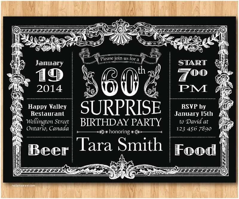 60th Birthday Invitation Ideas 60th Birthday Invitation Chalkboard Surprise Birthday Men